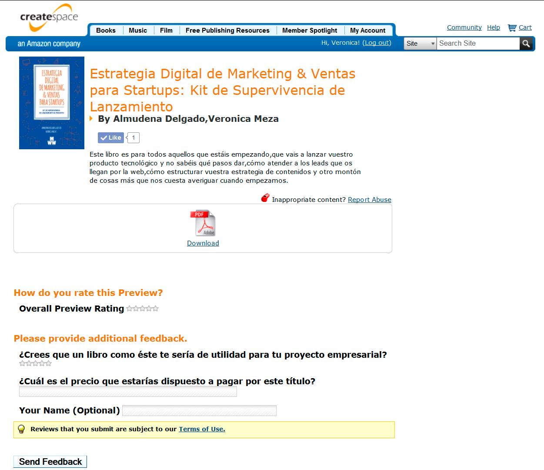 Previewdescargable libro Estrategia Digital de Marketing & Ventas para Startups: Kit de Supervivencia de Lanzamiento de Producto